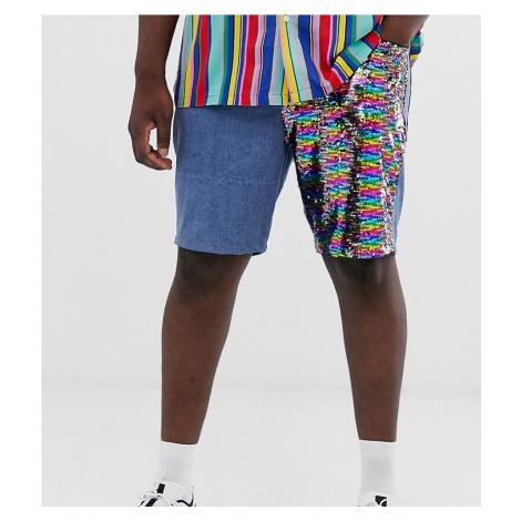 ASOS DESIGN Plus slim denim shorts with sequin panels in mid wash blue