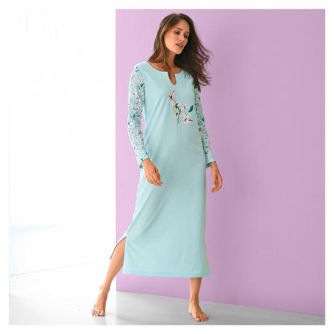 Blancheporte Dlouhá noční košile s potiskem květin, dlouhé rukávy bledě modrá