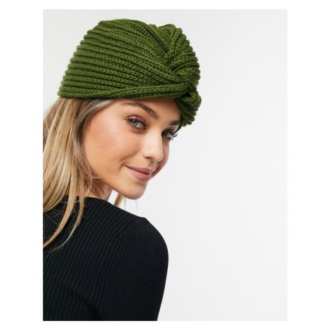 Glamorous ribbed wrap hat in khaki-Green