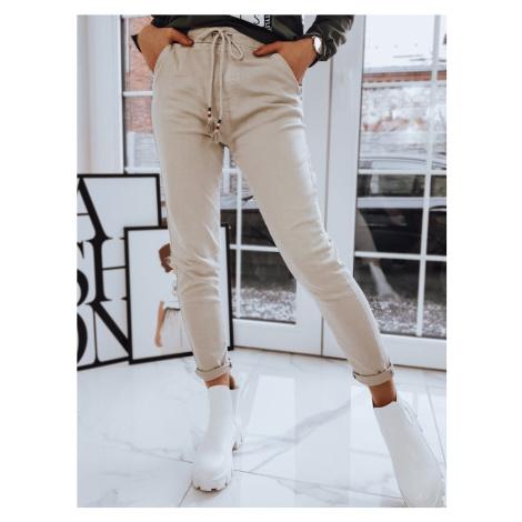 Béžové dámské kalhoty s elastickým pasem UY0734 BASIC