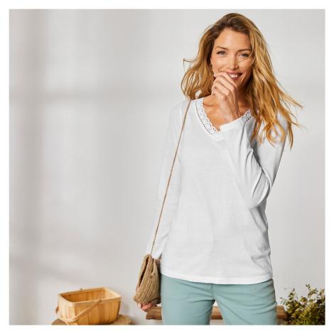 Blancheporte Jednobarevné tričko macramé s dlouhými rukávy bílá