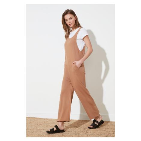 Trendyol Camel Pocket Detailed Knitwear Jumpsuit