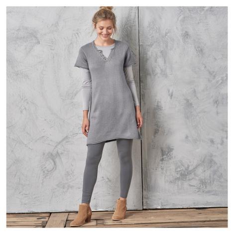 Blancheporte Tunikový pulovr s knoflíky šedá