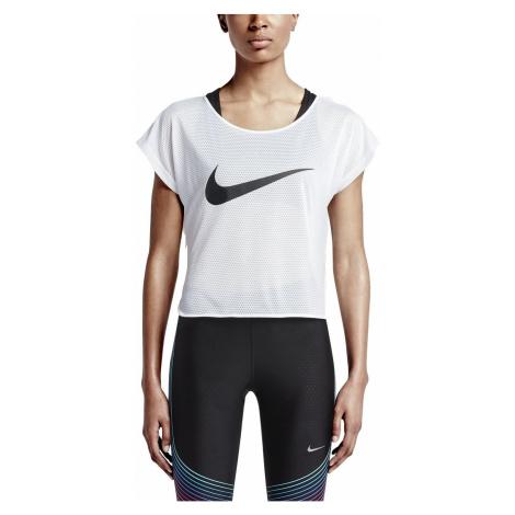 Dámský běžecký top Nike City Cool Swoosh Bílá / Černá