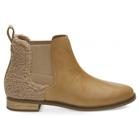 Honey Leather/Faux Shearling Women's Ella Toms