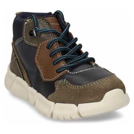 Modro-hnědá chlapecká kožená obuv Geox