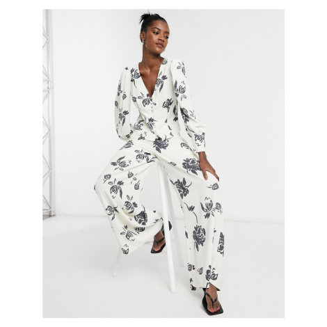 Glamorous wide leg trousers in bold floral co-ord-Cream