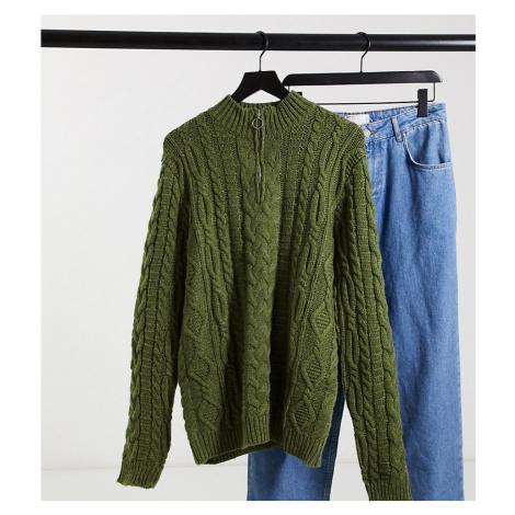 ASOS DESIGN Tall heavyweight cable knit half zip jumper in khaki-Green