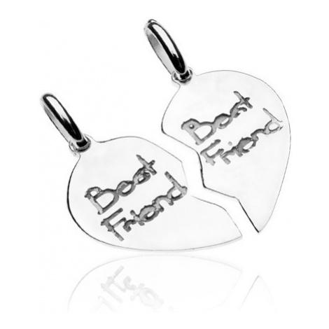 Stříbrný přívěsek 925 pro dvojici - rozpůlená srdce Best friend Šperky eshop
