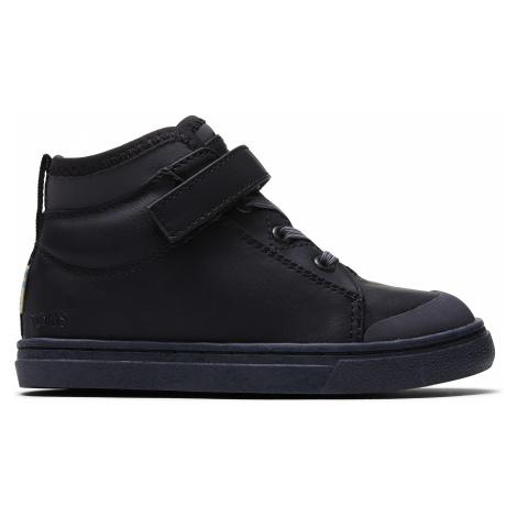 Black Leather Tiny Cusco Sneak Toms