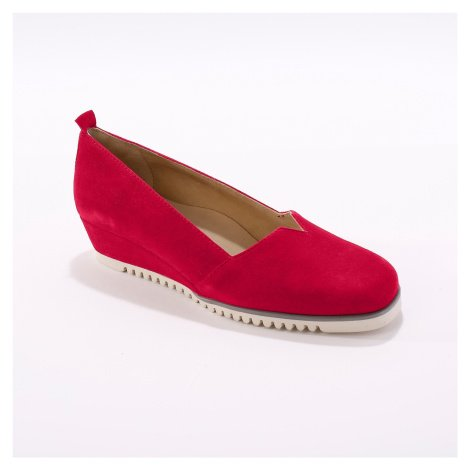 Blancheporte Kožené baleríny na klínku, červené červená