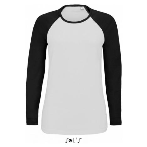 Dámské raglánové tričko FLSL dlouhé - Černé