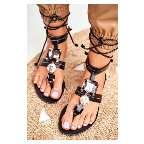Women's Sandals Flat With Sequins Black Volare