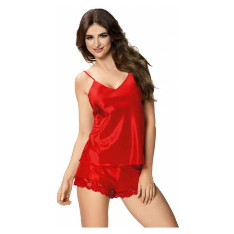 Dámské saténové pyžamo Karen červené Donna