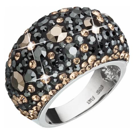 Evolution Group Stříbrný prsten s krystaly Swarovski mix barev černá hnědá zlatá 35028.4