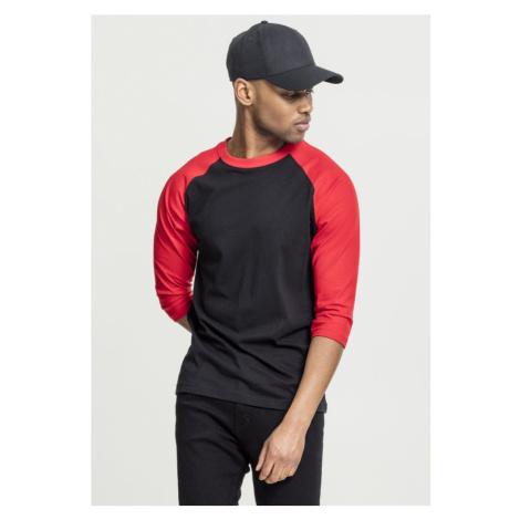 Contrast 3/4 Sleeve Raglan Tee - black/red Urban Classics