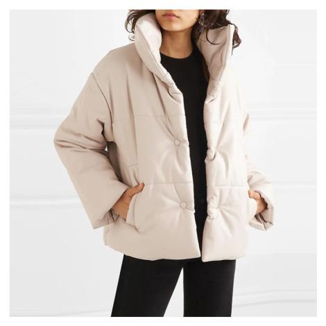 Zimní koženková bunda na knoflíky bunda s prošíváním a kapsami