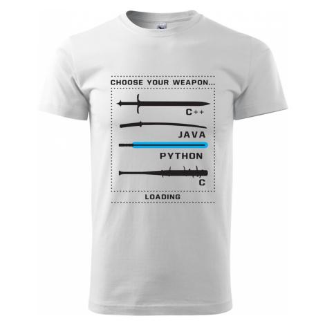 Pánské tričko pro programátory Choose your weapon BezvaTriko