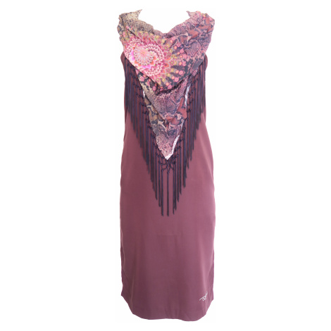 Desigual fialové šaty s třásněmi