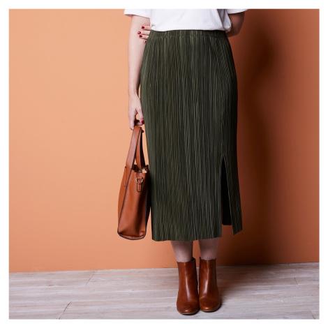 Blancheporte Dlouhá plisovaná sukně khaki