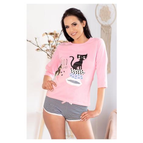 Dámské pyžamo Aprodit Cat - LivCo Corsetti Růžová Livia Corsetti