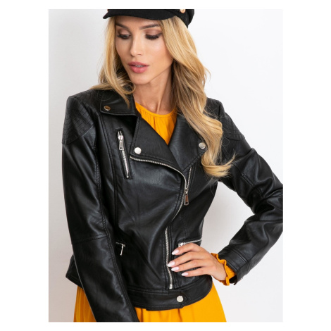 Black eco-leather biker jacket Fashionhunters