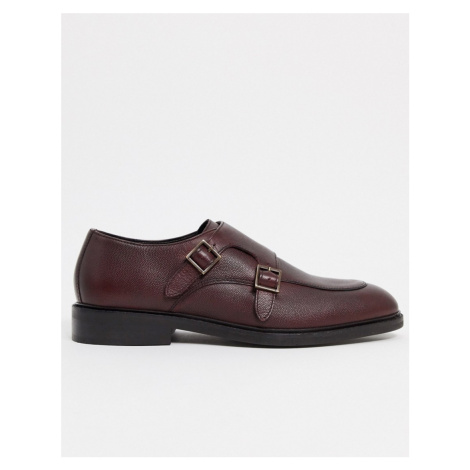River Island double monk shoe in dark red