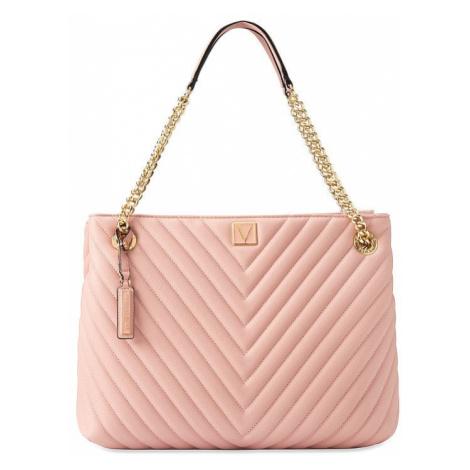 Victorias Secret luxusní růžová kabelka Pebbled V-Quilt Shoulder Bag Victoria's Secret