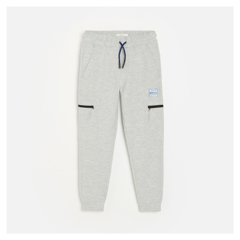Reserved - Teplákové kalhoty cargo joggers - Světle šedá