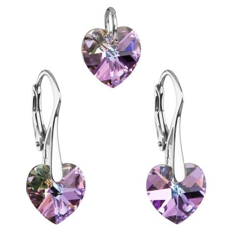 Sada šperků s krystaly Swarovski náušnice a přívěsek fialová srdce 39003.5 Victum