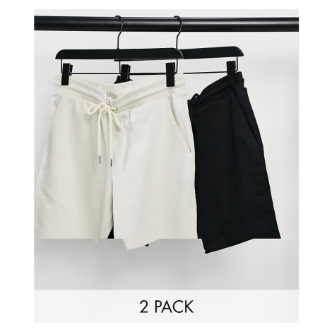 ASOS DESIGN jersey skinny shorts in black/beige 2 pack-Multi