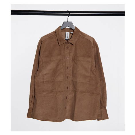 COLLUSION Plus exclusive cord shirt co-ord in mocha-Brown