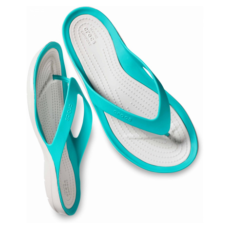Crocs SwiftWater Flip - žabky Teal/Pearl Whiter