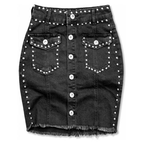 Černá jeans sukně se stříbrnými nýty Butikovo
