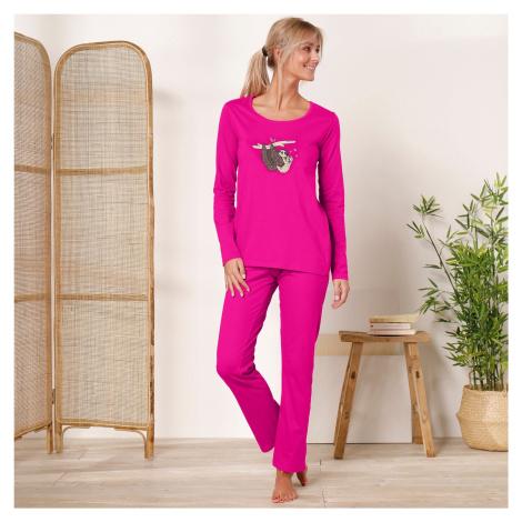 Blancheporte Pyžamo s dlouhými rukávy a kalhotami, motiv lenochodů fuchsie