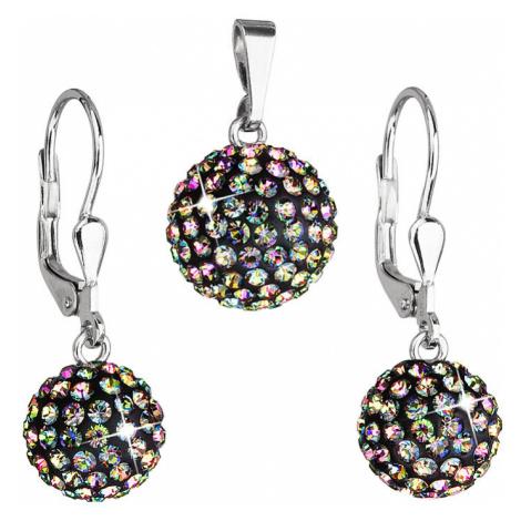 Evolution Group Sada šperků s krystaly náušnice a přívěsek zelené kulaté 739072.5 vitrail medium