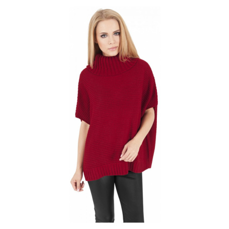 Ladies Knitted Poncho - red Urban Classics