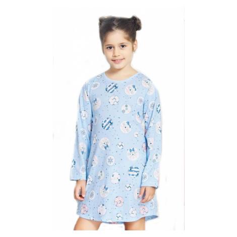 Dětská noční košile s dlouhým rukávem Vienetta Secret Kitty | světle modrá