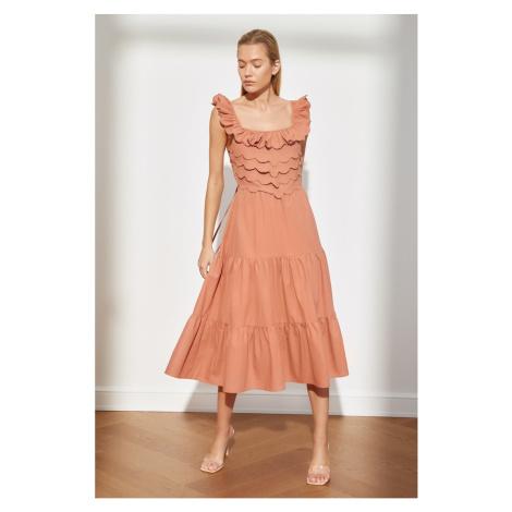 Trendyol Dried Rose Back Detailed Strap Dress