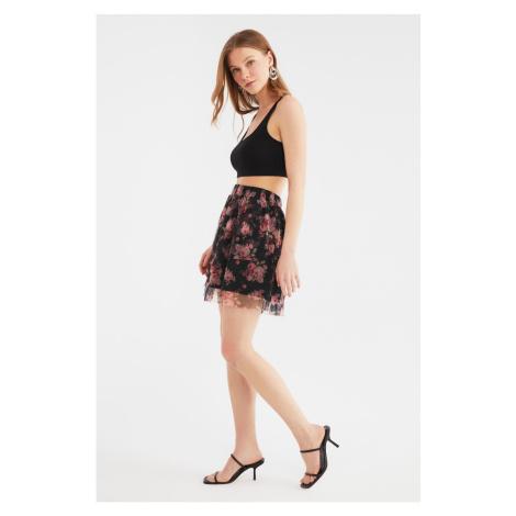 Trendyol Black Floral Pattern Tulle Knit Skirt