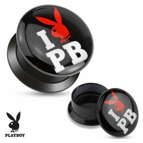 Černý šroubovací plug z akrylu - I love Playboy - Tloušťka : 12 mm Šperky eshop