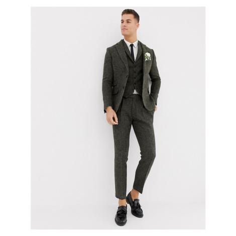 ASOS DESIGN slim suit trousers in 100% wool Harris Tweed khaki micro check-Green