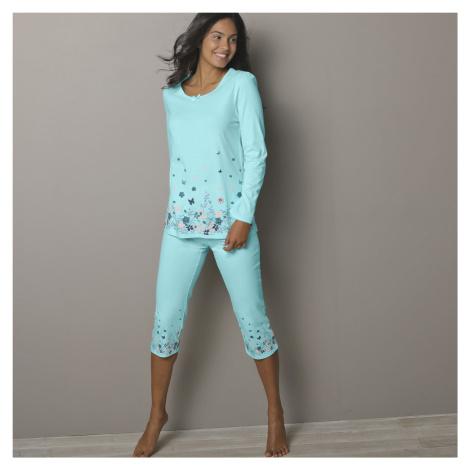 Blancheporte 3/4 pyžamové kalhoty s potiskem květin bledě modrá