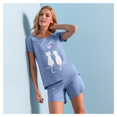 """Blancheporte Pyžamo se šortkami a krátkými rukávy, potisk """"koček"""" modrá"""