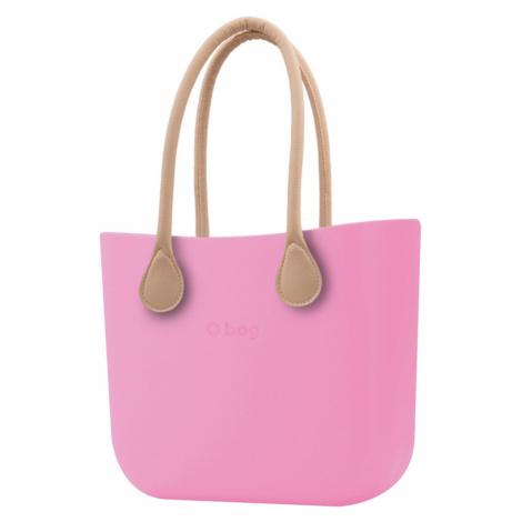 O bag kabelka Pink s dlouhými koženkovými držadly natural