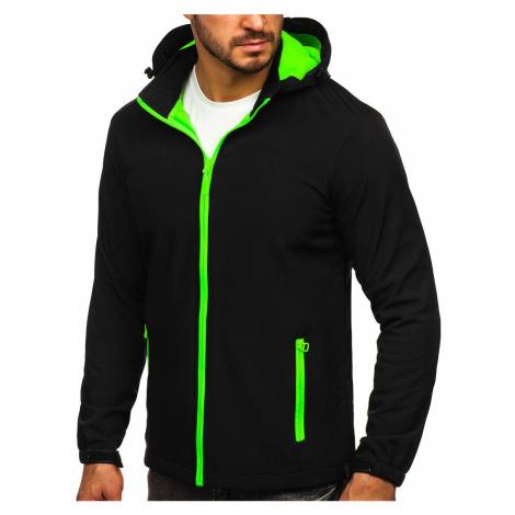 Černo-zelená pánská přechodová softshellová bunda Bolf HH017 J.STYLE