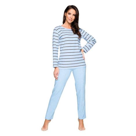 Dámské froté pyžamo Leila světle modré proužkované Regina