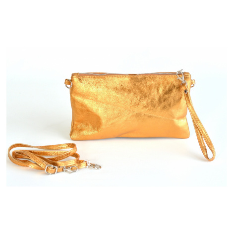 Kožené dámské psaníčko metalické na zip do ruky cognac, 26 x 1 x 15 (IT17-15.4009-13MET)
