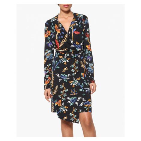 Černé šaty s barevným vzorem Desigual