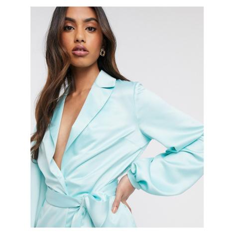 ASOS DESIGN soft satin suit blazer-Green